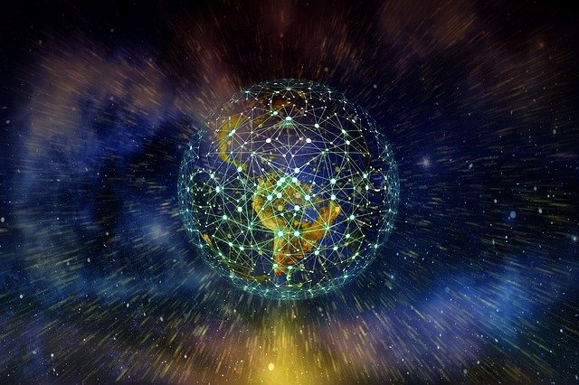 zeměkoule z dálky, na ní je znázorněná propojená síť a tečky